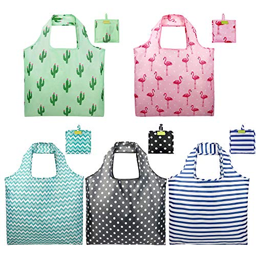 - Foldable Reusable Grocery Bags set Cute Designs Folding Shopping Tote Bag with Pocket Pink Green Black Blue Teal Gift Bags Reusable Bag with Pouch Reusable Fabric Bags