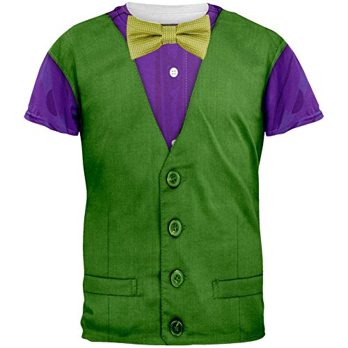 [Mardi Gras Green and Purple Vest Costume All Over Adult T-Shirt - Large] (Mardi Gras Costumes Vest)