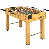 Best Choice Products 48in Competition Sized Wooden Soccer Foosball Table for Home, Game Room, Arcade w/ 2 Balls, 2 Cup Holders - Natural