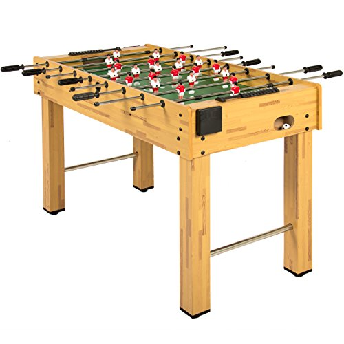 (Best Choice Products 48in Competition Sized Wooden Soccer Foosball Table w/ 2 Balls, 2 Cup Holders for Home, Game Room, Arcade - Natural)