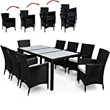 Poly Rattan Garden Furniture Dining Table and Chairs Set - Rectangular Glass Top Stackable 8+1 Black