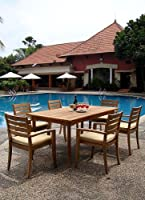 """7 Pc Luxurious Grade-A Teak Dining Set - 71"""" Rectangle Table And 6 Stacking Arm Chairs [Model:TV8] by WholesaleTeak"""