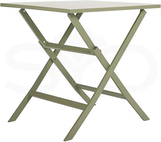 Mesa de Comedor de Aluminio Verde Oliva para Exterior. Plegable ...