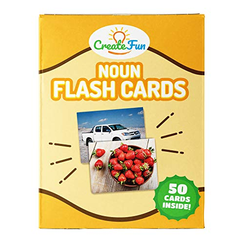 CreateFun Noun Flash Cards - 50 Educational Vocabulary Builder Picture Cards - 5 Learning Games - Toddlers, Preschool Teachers, Speech Therapy Materials and ESL Teaching Materials