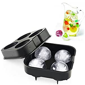 Geekercity Ice Ball Maker - Whiskey Cocktail Ice Cube Ball Maker Mold 4 Large Sphere Mold Party Tray Bar Food-Grade Silicone