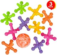 ArtCreativity Large Neon Jacks Game, 3 Sets, Each Set with 10 Plastic Jacks and 1 Marbleized Rubber Ball, Vint