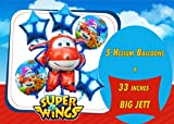 Super Wings Foil Balloons Kit Jett Helium Balloon Birthday Party (Red)