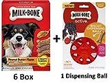Milk-Bone Peanut Butter Flavor Dog Treats Variety Pack, Small/Medium, 24 oz (6 Box + Dispensing Ball)