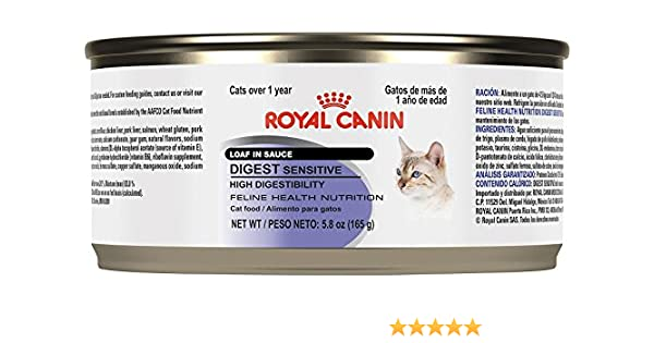Amazon.com : Royal Canin Feline Health Nutrition Loaf in Sauce - Sensitive Digest - Pork - 5.8 Ounce - 24 Count : Pet Supplies