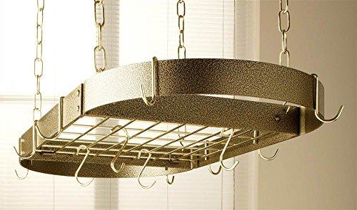 Oval Hanging Pot Rack Brass - Oval Grid Pot Rack in Hammered Bronze w Brass Hooks (Hammered Copper/Black)