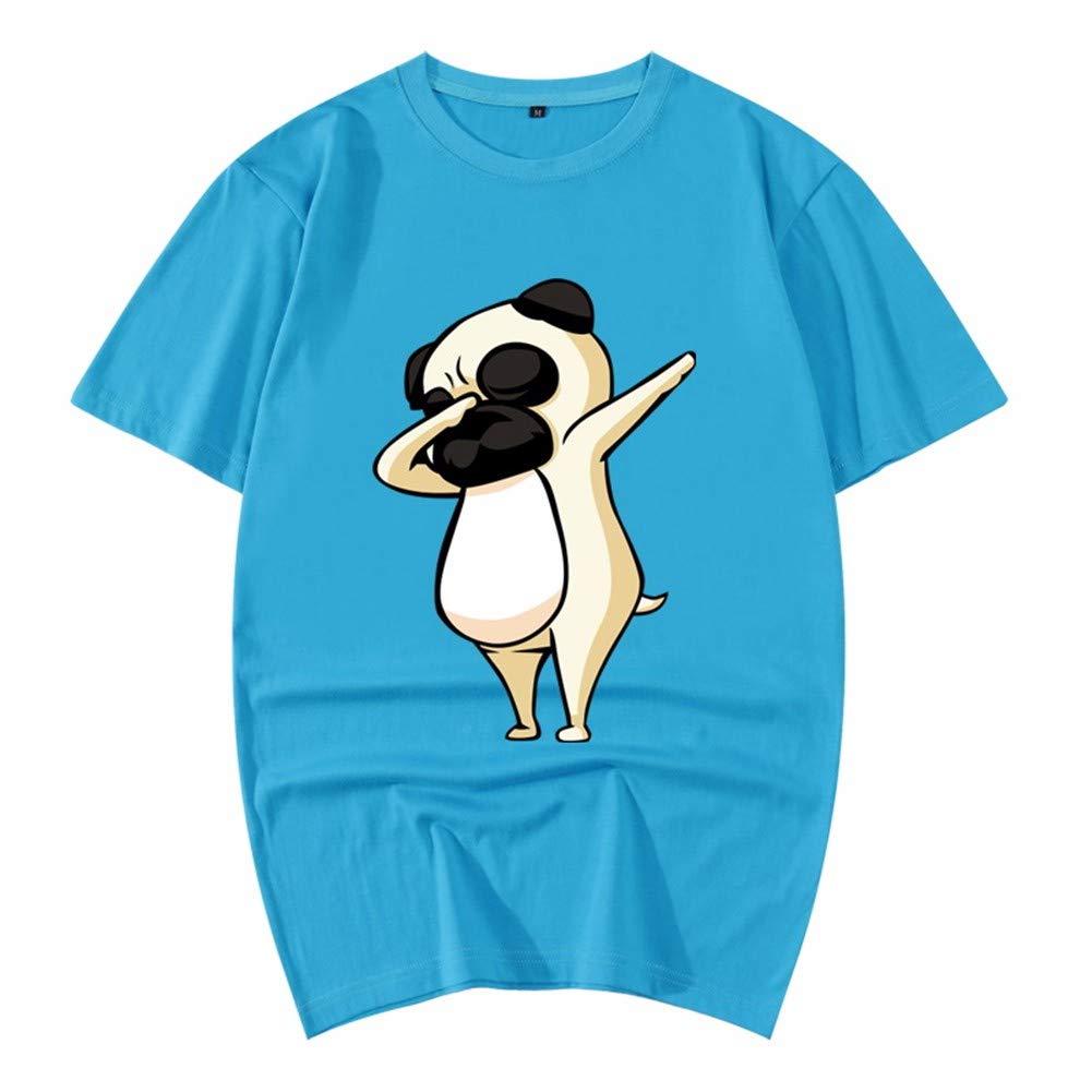 3D-Pullover 2018 Rotes Kleid Baumwolle Sommer Kurzarm T-Shirt Lose 3D Tier Muster Herren Hemd 190   3XL Cyan