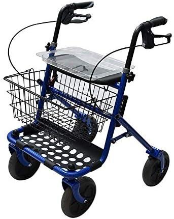 Rollator de acero plegable azul – Andador para personas mayores con 4 ruedas, asiento y frenos