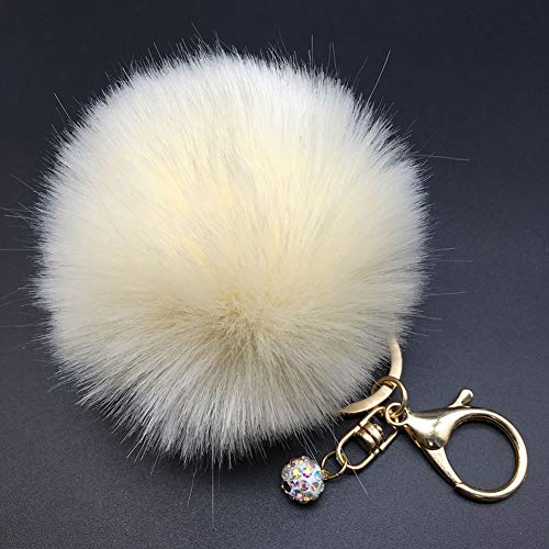 Price comparison product image Afco Women Girl Faux Fur Fluffy Pompom Ball Car Pendant Handbag Charm Key Chain Keyring 7 Beige