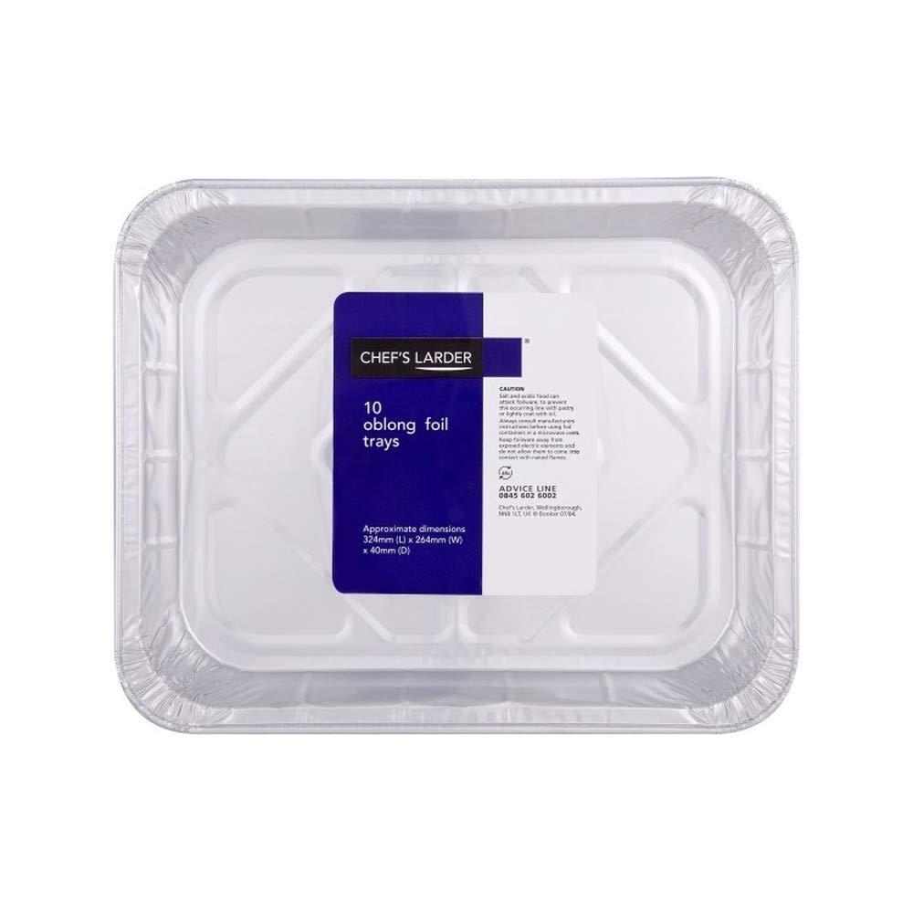 [Chef's Larder ] シェフの食料貯蔵室10長方形の箔トレー10の324ミリメートルパック - Chef's Larder 10 Oblong Foil Trays 324mm Pack of 10 [並行輸入品] B07S8596YL