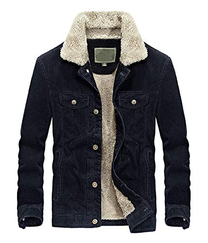 - Chartou Men's Vintage Button-Front Sherpa Lined Shearling Slim Fit Corduroy Denim Jacket (XX-Large, Navyblue-Fleece)