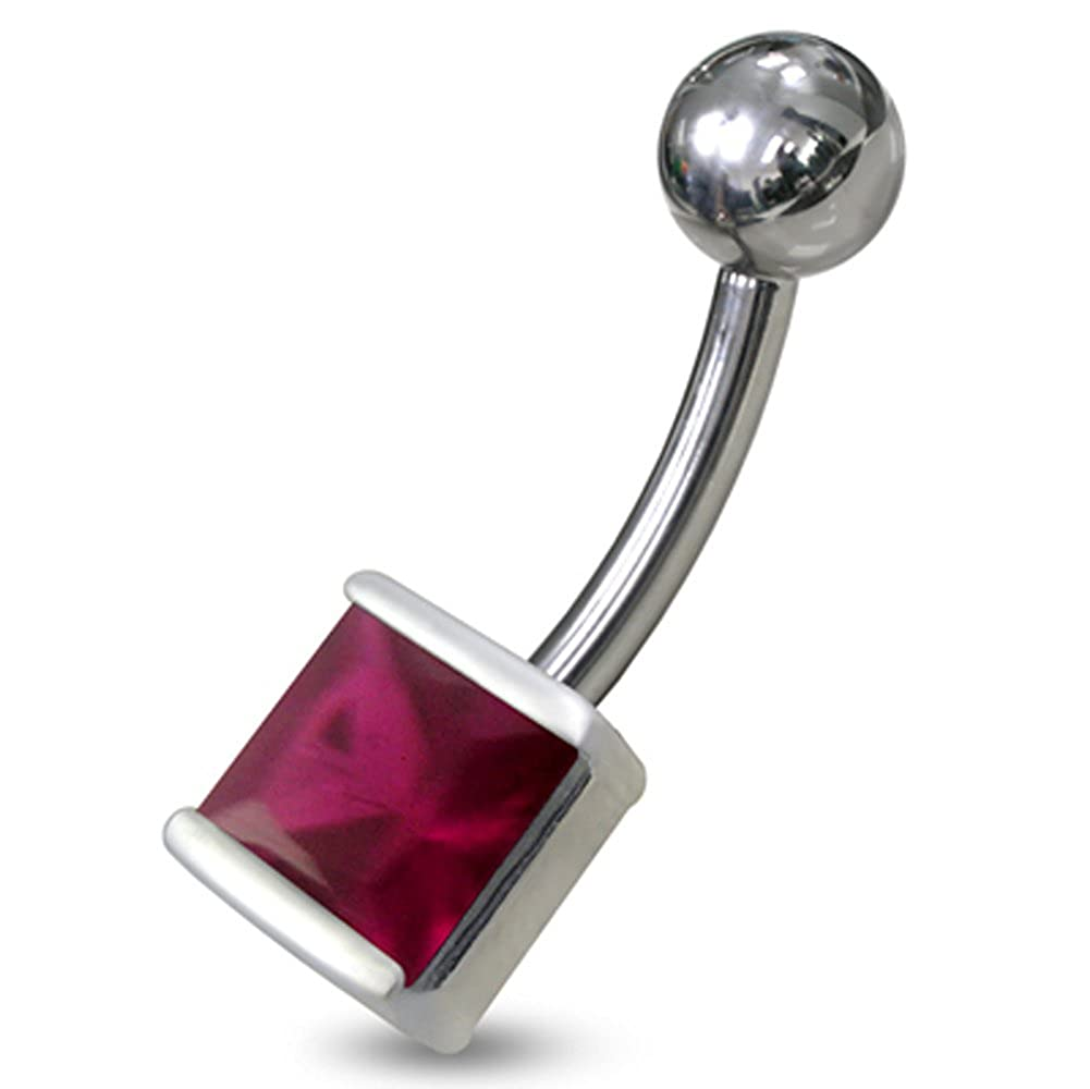 5MMx5MM Square CZ Gemstone 925 Sterling Silver with Stainless Steel Belly Button Navel Rings