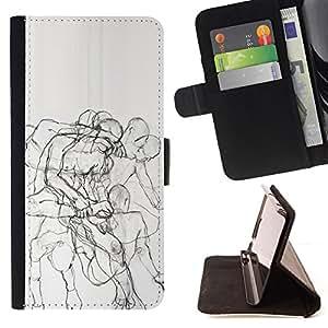 """For Samsung Galaxy Note 5 5th N9200,S-type Body Anatomy Drawing Pencil"""" - Dibujo PU billetera de cuero Funda Case Caso de la piel de la bolsa protectora"""