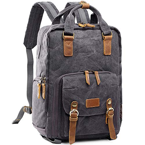 S-ZONE Waterproof Waxed Canvas Camera Backpack Camera Case 14 inch Laptop and Tripod (Gray)