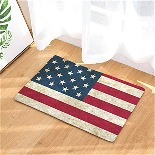 Welcome Home Hallway Door Mats Vintage American Flag Stars Pattern Rugs Light Soft Kitchen Living Room Bedroom Foot Pads 17 40X60cm