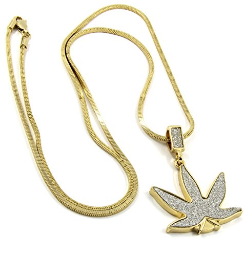 - Mens Gold Stardust Iced Out Marijuana Bud Weed Pendant Hip Hop 27