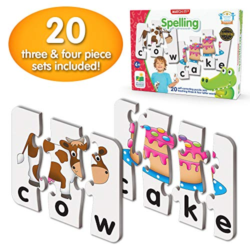 The Learning Journey: Match It! - Spelling - 20 Piece Self-Correcting Spelling Puzzle for Three and Four Letter Words with Matching Images - Learning Toys for 4 Year Olds - Award Winning Toys