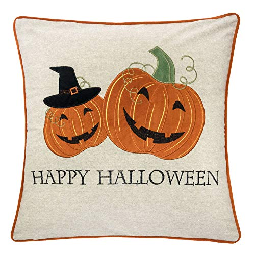 Homey Cozy Happy Halloween Throw Pillow Cover,Large Premium Embroidery Halloween Decorative Pillowcase 20x20, Cover Only