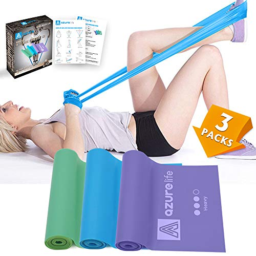 A AZURELIFE Professional Resistance Bands, 3 Different Strengths of Exercise Bands, 5 ft. Long Latex Free Elastic Stretch Bands for Physical Therapy, Yoga, Pilates, Rehab, Home Workout (Of Exercise Bands)