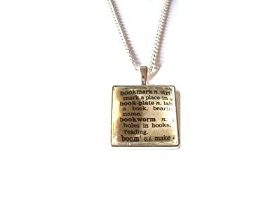 English gems silver plated necklace with dictionary word bookworm english gems silver plated necklace with dictionary word bookworm gift boxed aloadofball Choice Image