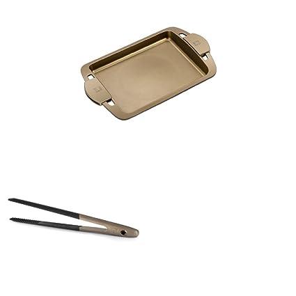 BRA Terra - Plancha asador liso con asas de silicona 40 cm y pinzas de cocina