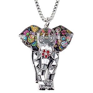 BONSNY Signature Africa Wildlife Collection SUNRISE Jungle Safari Wild Elephant Large Statement Enamel Pendant Necklace (Grey)