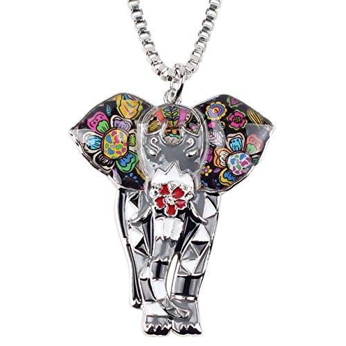BONSNY Signature Africa Wildlife Collection SUNRISE Jungle Safari Wild Elephant Large Statement Enamel Pendant Necklace (Grey) -