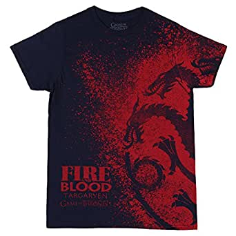 HBO'S Game of Thrones Men's Fire and Blood Splatter T-Shirt - Navy (XX-Large)