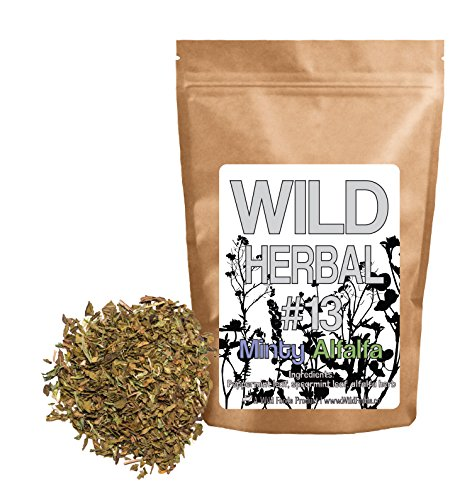 Wild Herbal Tea #13 Minty Alfalfa Blend by Wild Foods - 3 Ingredient Tea with Peppermint leaf, Spearmint leaf, Alfalfa Herb, 100% Natural (4 ounce)