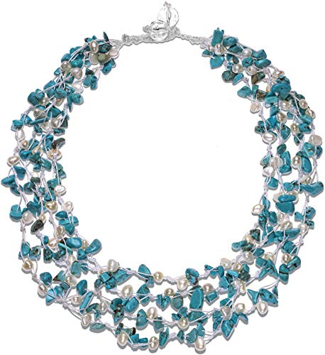 (HinsonGayle 'Sienna' 4-Strand Handwoven Turquoise & White Freshwater Cultured Pearl Necklace-20 in length)