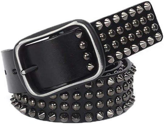 Cinturón Cinturón De Cuero con Remaches para Hombre Cinturón Negro Adecuado para Jeans Casuales (105Cm)