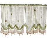 FADFAY Pastoral 57-Inch-by-69-Inch Adjustable Balloon Manual Hook Flower Shade Curtains,Light Green