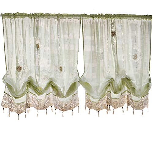 - FADFAY Pastoral 57-Inch-by-69-Inch Adjustable Balloon Manual Hook Flower Shade Curtains,Light Green