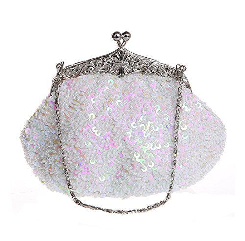 Clutch metallo Bianco con Bianco donna da Bag Evening e lustrini perline in Whoinshop RAazxwUn