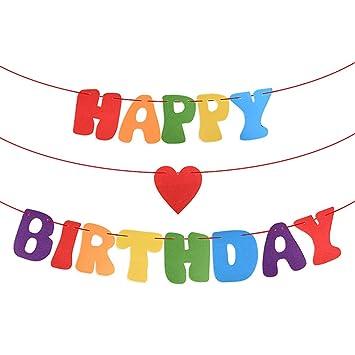 MEJOSER Guirnalda Happy Birthday Banner Fieltro Decoracion Fiesta de Cumpleaños Banderines Feliz Cumpleaños