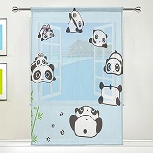 LEISISI Panda Print Tulle Voile Door Window Room Sheer Curtain Drape 1 Panel Scarf Valances Wide Width Gauze Curtain for Bedroom Single panel 55x78(inch)