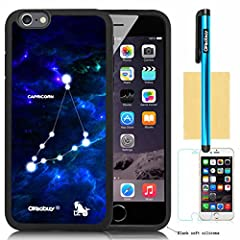 1.Apple Iphone 6(4.7 Inch) Model High quality Fashion Luxury Designer Fashion Constellation with Deep Blue Starship Background Design Soft silicone High Impact Case forApple Iphone 6(4.7 Inch) (Apple Iphone 6 Case) with Screen Protector and S...