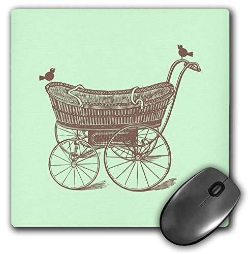 3dRose Russ Billington Nursery Designs - Vintage Baby Carriage with Birds in Mint Green and Brown - Mousepad (mp_219372_1)