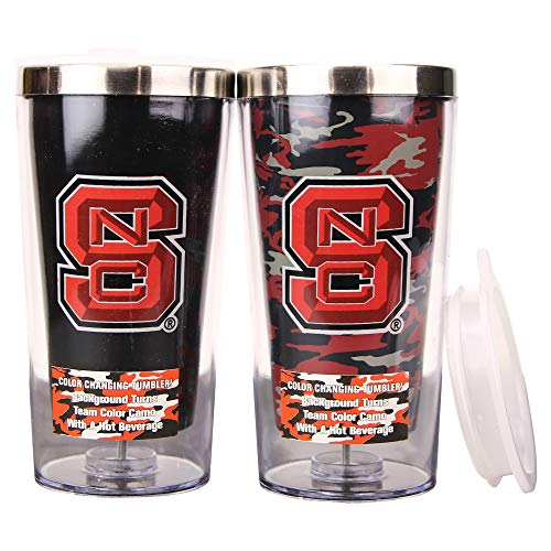 Boelter NCAA 16 Ounce Color Changing Camo Travel Tumbler 2 Pack with Lids (North Carolina State Wolfpack)