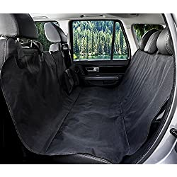 "Pet Seat Cover for Cars -Scott Malone - 54"" x 58""Dog Car Seat Cover With Seat Belt, Pet Front & backseat cover for Cars, Trucks, and Suv's - WaterProof & NonSlip Hammock Convertible, Black"