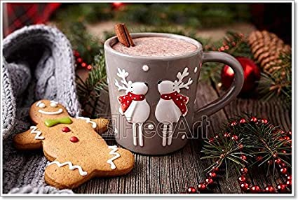 Amazon Com Cup Of Hot Chocolate Or Cocoa Drink With Two Cute Deer