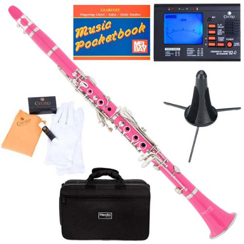 Mendini MCT-PK+SD+PB+92D Pink ABS B Flat Clarinet with Tuner, Case, Stand, Mouthpiece, 10 Reeds and More by Mendini