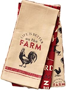 Loving Home Country Primitive Everyday Life is Better on The Farm Dishtowel Set of 3 Cotton Tea Towels