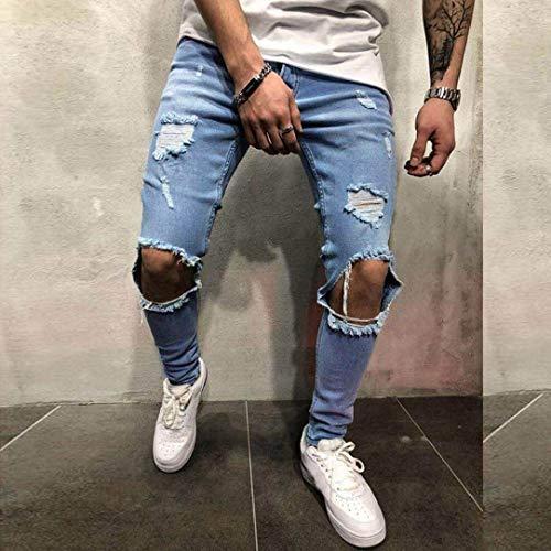 Blau Jeans Pantaloni Da Aderenti Fashion Uomo Slim Laisla Fit Classiche Neri Lunghi Strappati Ragazzi qOCBn6nZwx