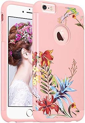 8796160c9c6 ULAK iPhone 6s Plus Caso, iPhone 6 Plus Funda Carcasa Slim Fit Hybrid Funda  de Silicona para Apple iPhone 6s Plus/iPhone 6 Plus 5,5 Pulgadas, Flor  Blanca + ...