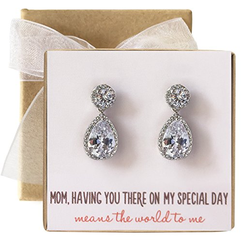 Mother of the Bride Gift, Round Post Tear Drop Earrings in Silver